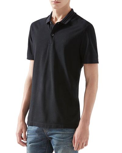 Pique Polo Shirt with Striped Collar, Black