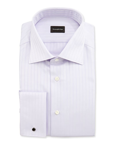 Solid Textured-Stripe Shirt, Purple