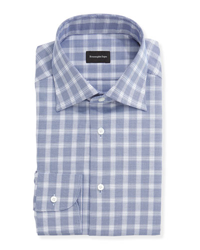 Basketweave Windowpane Check Shirt, Navy