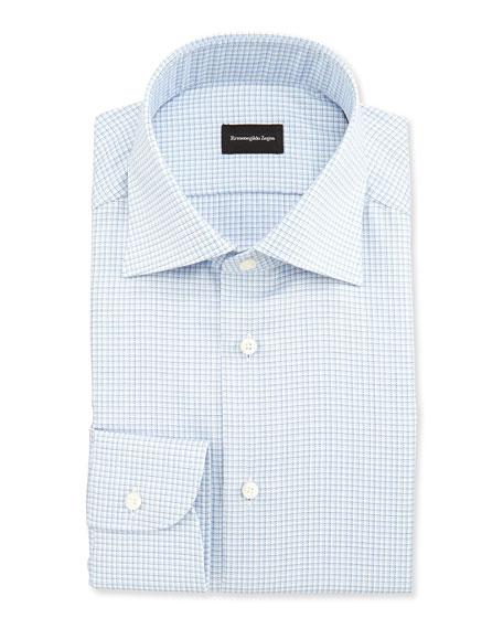 Ermenegildo Zegna Shadow Microcheck Shirt, Blue