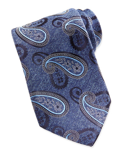 Chambray Melange Paisley Tie, Blue