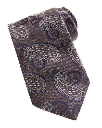 Chambray Melange Paisley Tie, Navy