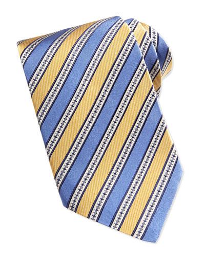 Woven Grosgrain Striped Tie, Yellow