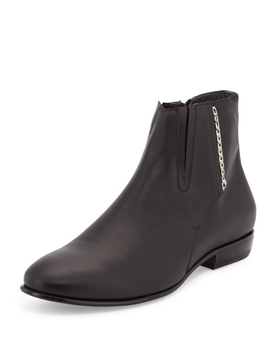 Chelsea Boot with Side Chain Detail, Black