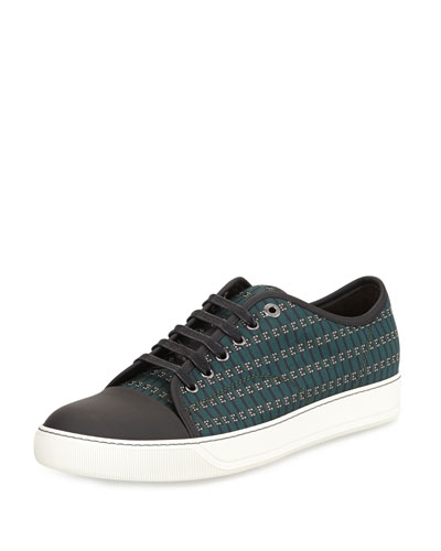Printed-Fabric Low-Top Sneaker, Green