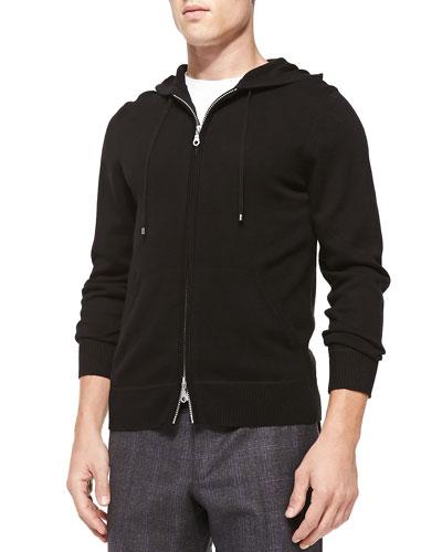 Cashmere/Cotton Zip Hoodie, Black