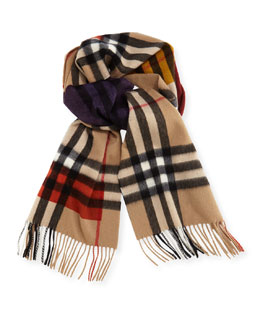 Burberry Prorsum Men's Dark Check Cashmere Scarf, Camel