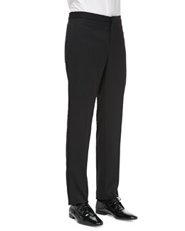 Burberry Prorsum Wool Tuxedo Trousers, Black