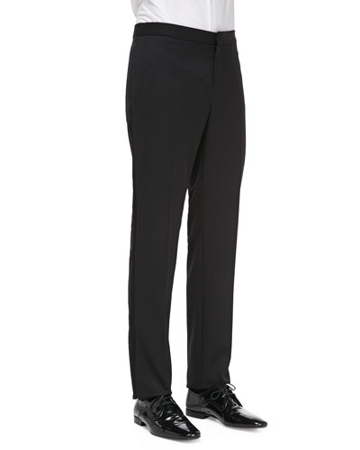 Burberry Prorsum Wool Tuxedo Trousers, Black