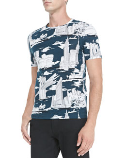 Burberry Prorsum NYC Landmark Printed Tee, Blue