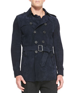 Burberry Prorsum Suede Trench Coat, Ink Blue