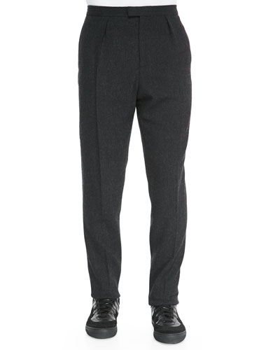 Wool/Cashmere Tweed Trousers, Charcoal