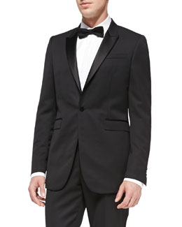 Burberry Prorsum Peak-Lapel Tuxedo Jacket, Black
