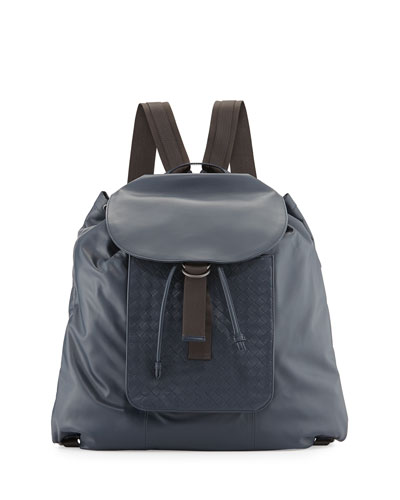 Woven Leather Backpack, Navy Blue
