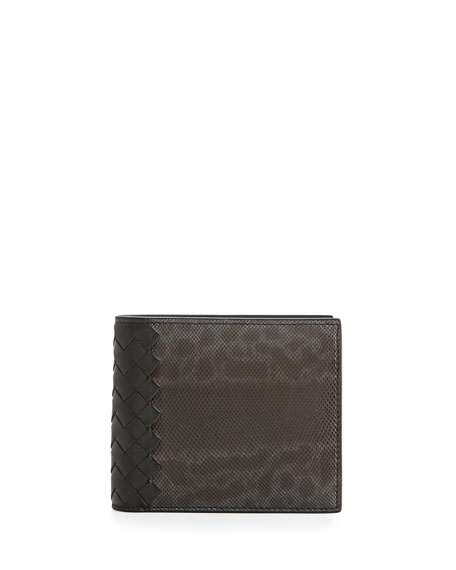 Bottega Veneta Karung Watersnake Bi-Fold Wallet, Gray