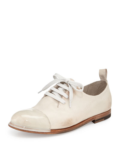 One-Piece Lace-Up Leather Shoe, Mist