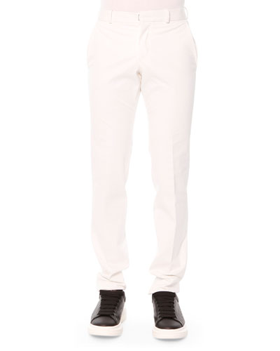 Cotton Flat-Front Trousers, White