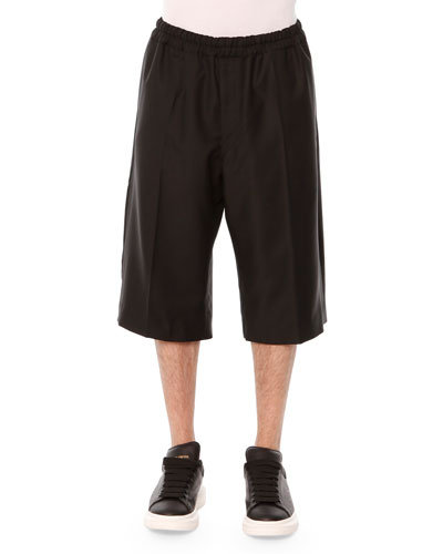 Drawstring Long-Shorts, Black
