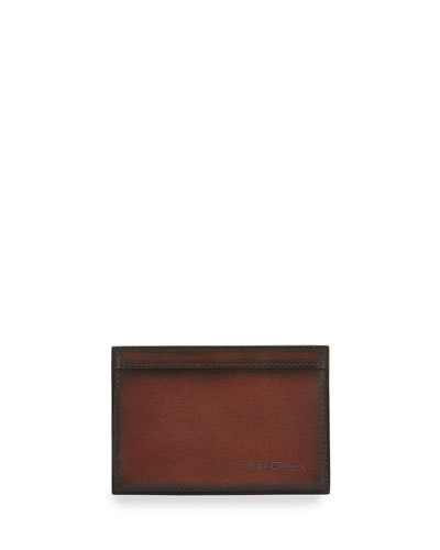Nicos Hand Burnished Leather Card Case, Brown New |Reviews|Price |Sale
