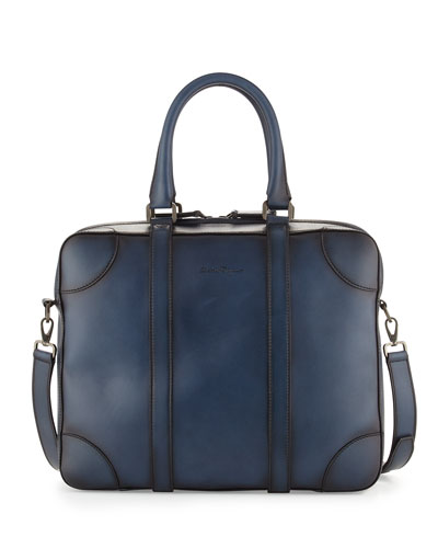 Hand-Burnished Leather Laptop Case, Blue
