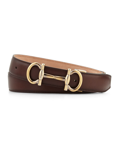 salvatore ferragamo parigi golden buckle leather belt brown