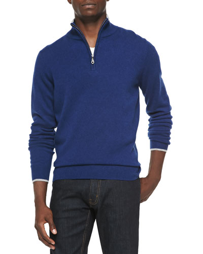 Cashmere Cloud Quarter-Zip Sweater, Navy