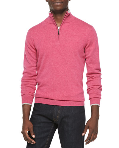 Cashmere Cloud Quarter-Zip Sweater, Pink