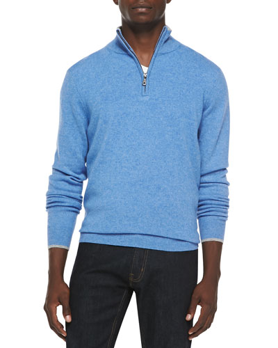 Cashmere Cloud Quarter-Zip Sweater, Light Blue