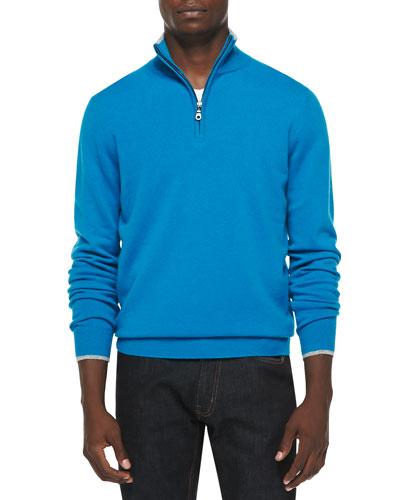 Cashmere Cloud Quarter-Zip Sweater, Blue