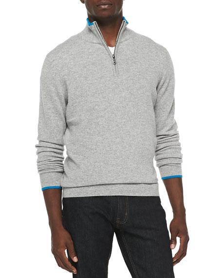 Neiman Marcus Cashmere Cloud Quarter-Zip Sweater, Gray
