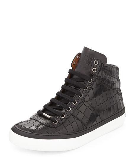 Jimmy Choo Belgravia Crocodile-Embossed High-Top Sneaker, Black