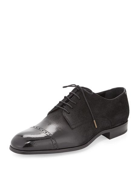 Jimmy Choo Prescott Cap-Toe Lace-Up Shoe, Black