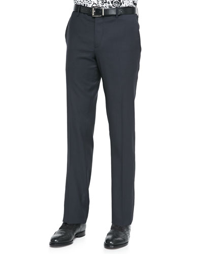 Etro Satin-Stripe Wool Tuxedo Trousers