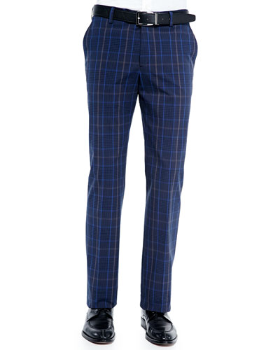 Cotton-Blend Plaid Pants, Blue