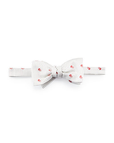 Silk Skull & Polka Dot-Print Bow Tie, Black/White