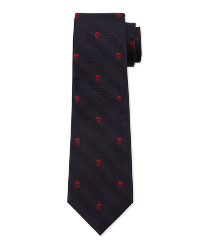 Prince of Wales Skull-Print Silk Tie, Red/Blue