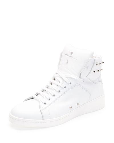 Studded High-Top Sneaker, White