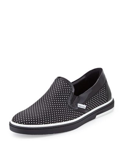 Grove Men's Polka-Dot Skate Shoe, Black/White