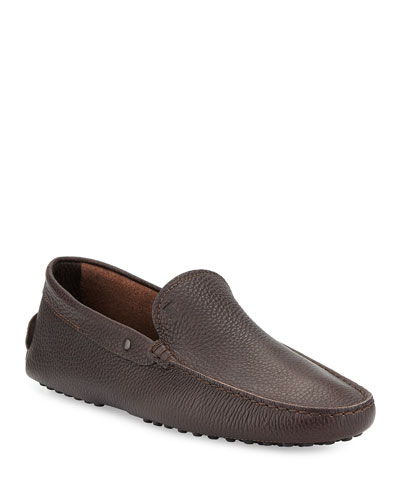 Pebbled Leather Driver, Brown