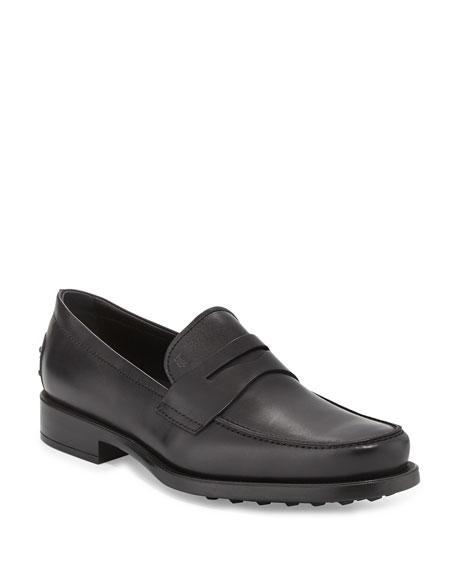 Tod'sBoston Leather Penny Loafer, Black