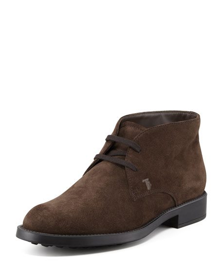 Tod's Suede Lace-Up Chukka Boot, Brown