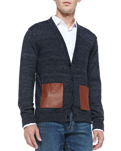 Melange-Knit Cardigan with Leather Pockets, Blue