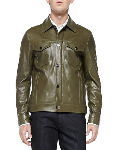 Leather Trucker Jacket, Army Green