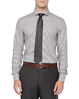 Micro-Check Woven Shirt, Tan