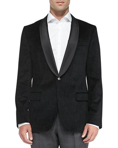 Boss Hugo Boss Velvet Paisley-Print Jacket, Black