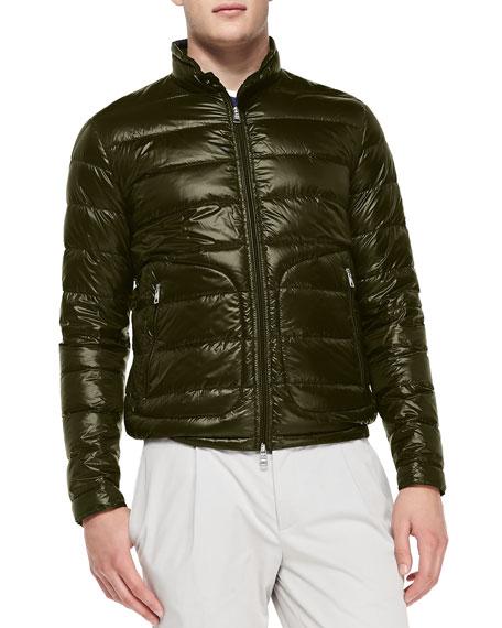 Moncler Acorus Puffer Moto Jacket, Olive