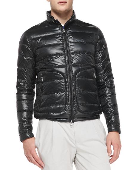 Moncler Acorus Puffer Moto Jacket, Black