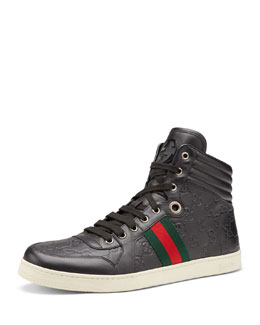 Gucci Coda Guccissima High-Top Sneaker, Gray