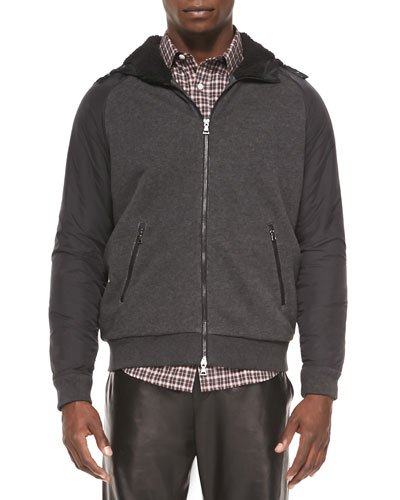 Mixed-Media Sherpa-Lined Hoodie