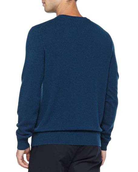 Cashmere V-Neck Pullover Sweater, Blue